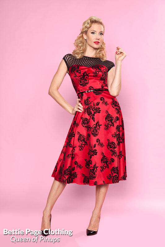ef3b3d682b63 Dance With Me Dress (Red/Black) by Bettie Page | Bettie Page