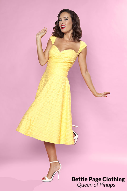 Roman Holiday Lace Dress Yellow By Bettie Page Bettie Page