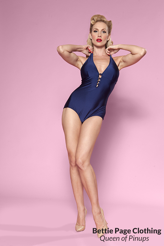 1950s Style Swimsuits, Bathing Suits, Swimwear Swatch w/ Gold Buttons (Navy) by Bettie Page $94.00 AT vintagedancer.com