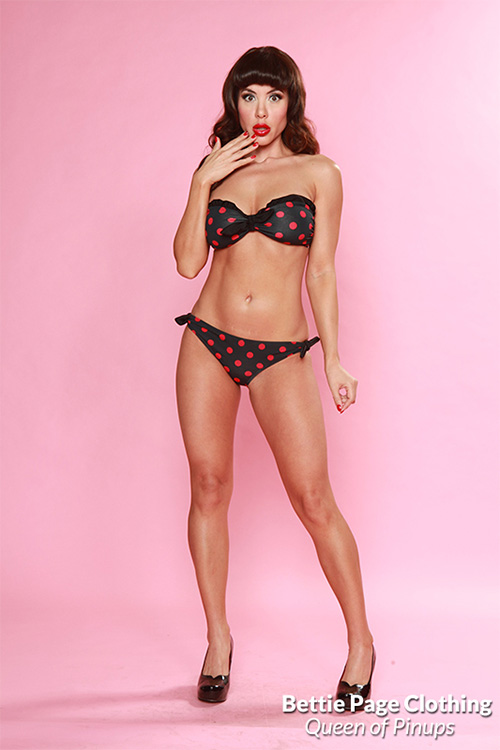 Spots W Center Bow Swimsuit Black Red By Bettie Page