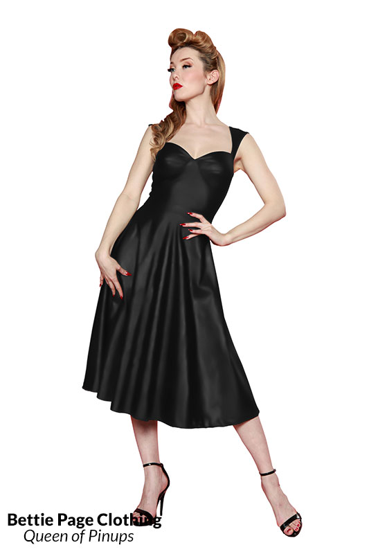 Roman Holiday Shiny Dress Black By Bettie Page Bettie Page