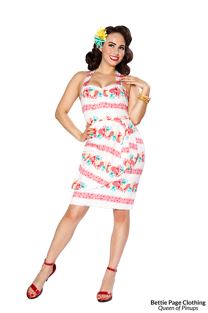 Wiggle Dresses | Pencil Dresses Hilo Honey Dress (Pineapples) by Bettie Page $128.00 AT vintagedancer.com