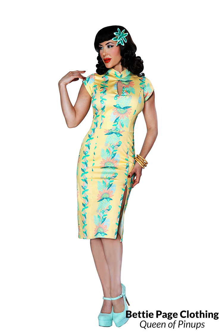 Wiggle Dresses | Pencil Dresses Fujiyama Mama Dress by Bettie Page $128.00 AT vintagedancer.com