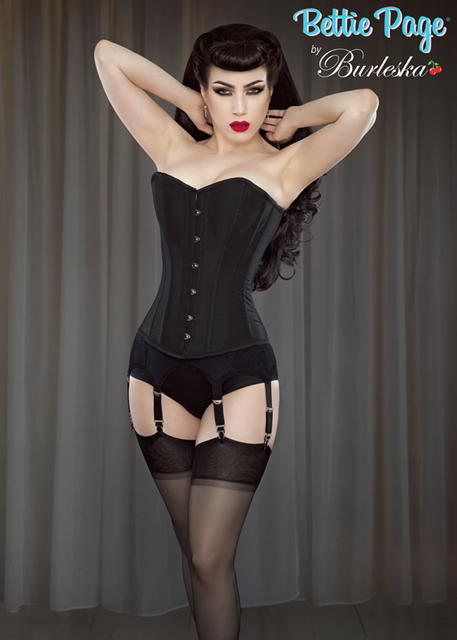 1950s Lingerie History – Bras, Girdles, Slips, Panties, Garters Overbust Pinup Corset by Bettie Page $128.00 AT vintagedancer.com