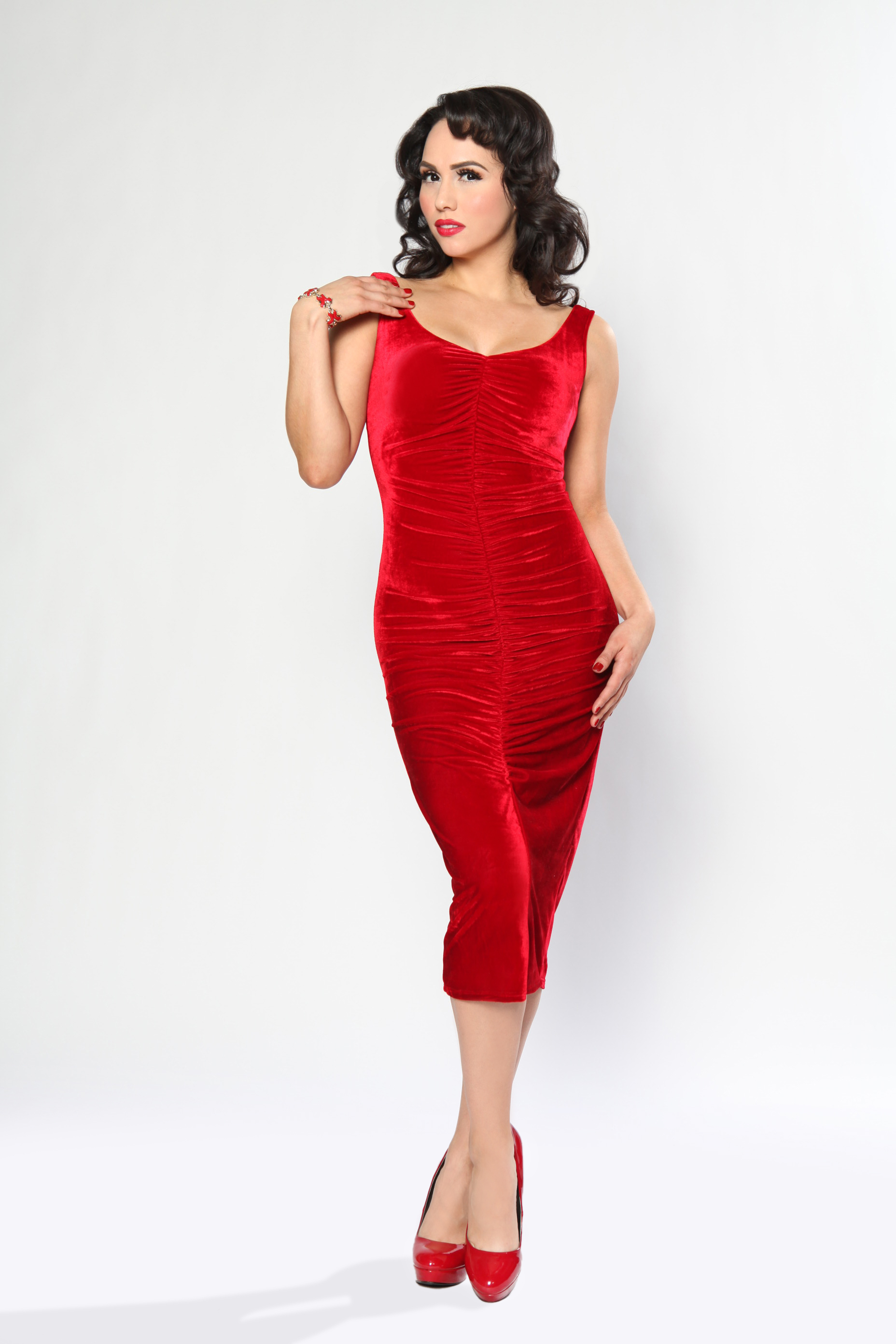 After Hours Dress (Red Velvet) by Bettie Page | Bettie Page