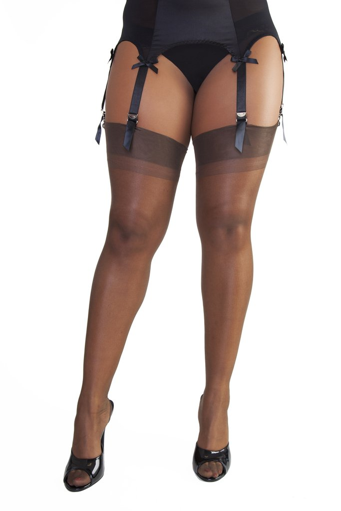 Vintage Inspired Lingerie Point Heel Stockings (Chocolate) by Bettie Page $22.00 AT vintagedancer.com