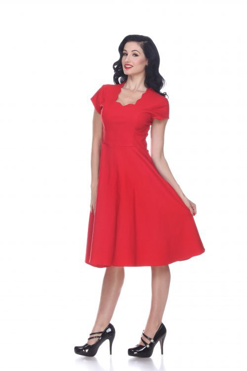 1940s Day Dresses Glenda Dress (Red) by Bettie Page $118.00 AT vintagedancer.com