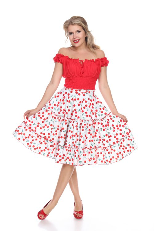 1950s Skirts; Pinup, Poodle, Pencil, Swing & Circle Skirts Cha Cha Skirt (Sweet Cherry White) by Bettie Page $108.00 AT vintagedancer.com