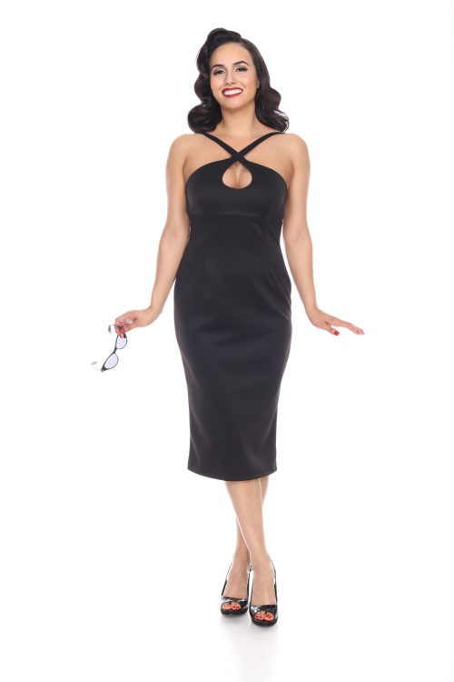 Vintage Inspired Cocktail Dresses, Party Dresses Cross My Heart Dress (Black) by Bettie Page $108.00 AT vintagedancer.com