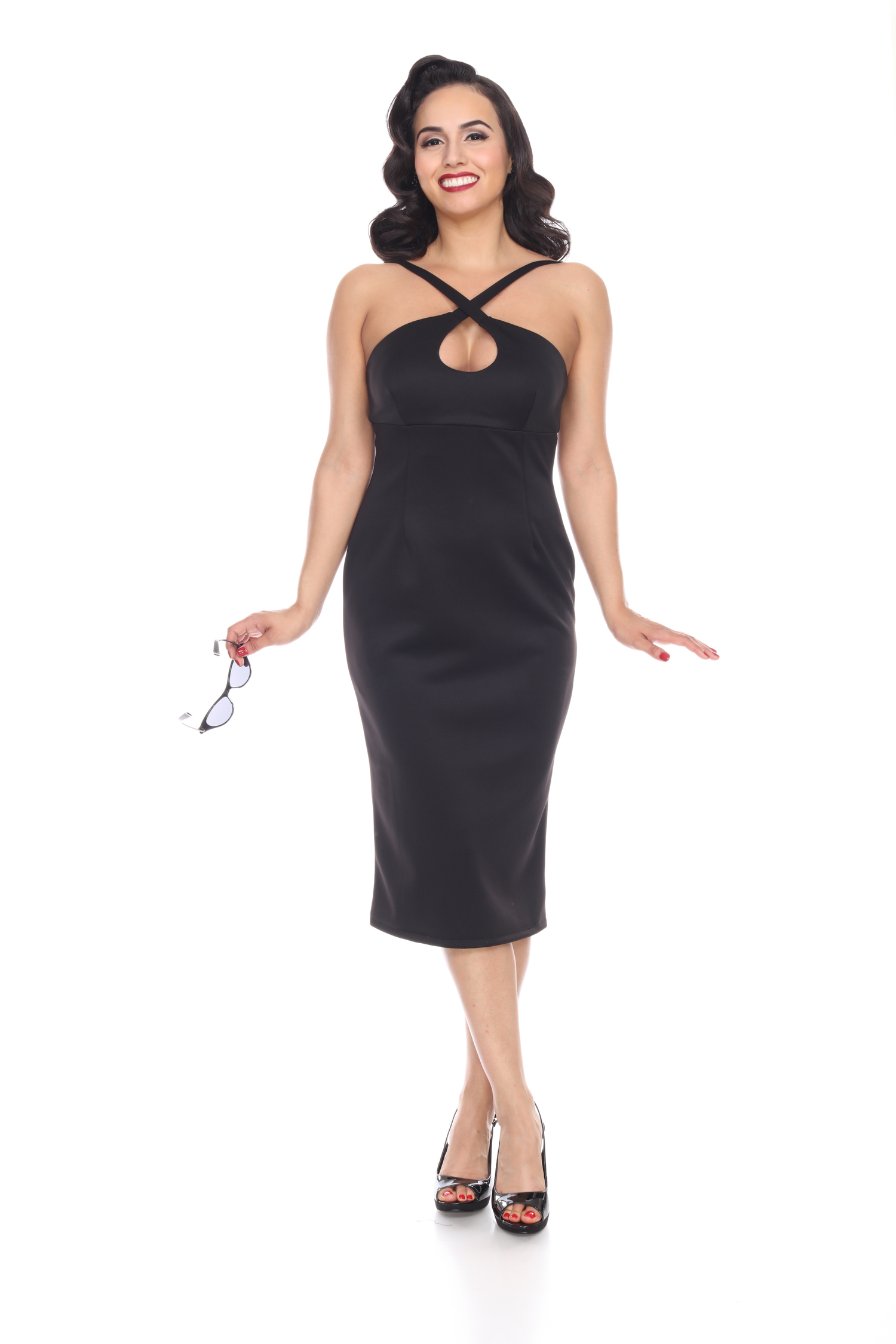 Cross My Heart Dress (Black) by Bettie Page