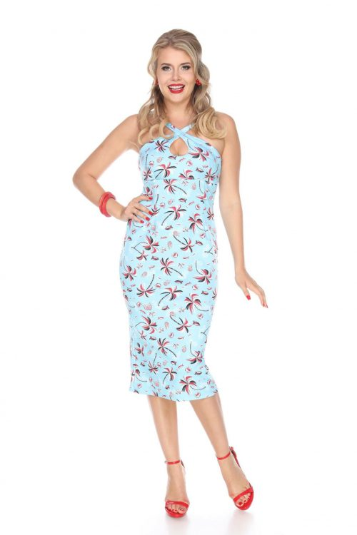 Wiggle Dresses | Pencil Dresses Cross My Heart Dress (Palm Trees) by Bettie Page $108.00 AT vintagedancer.com