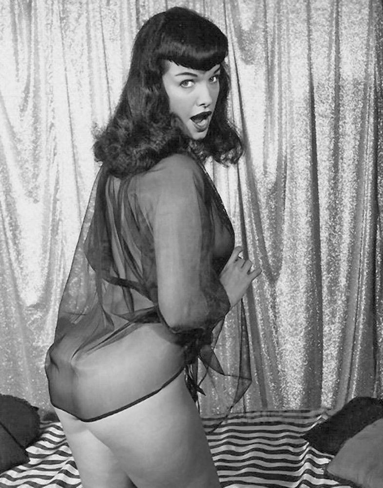 Bettie in a black negligee