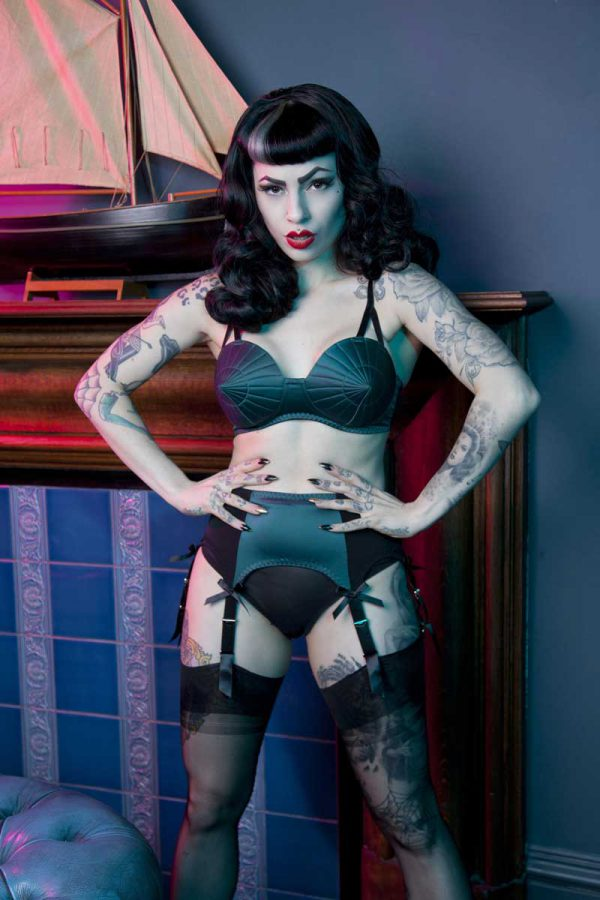 f6882919bbd Classic 6 Strap Suspender Belt (Black Teal) by Bettie Page
